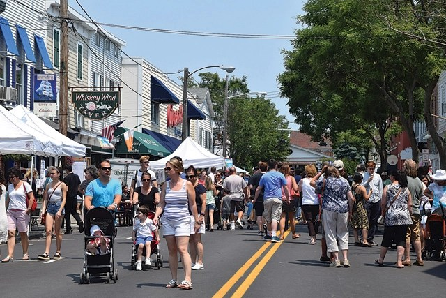 The Tall Ships crowd along Front Street Sunday afternoon. (Credit: Vera Chinese)