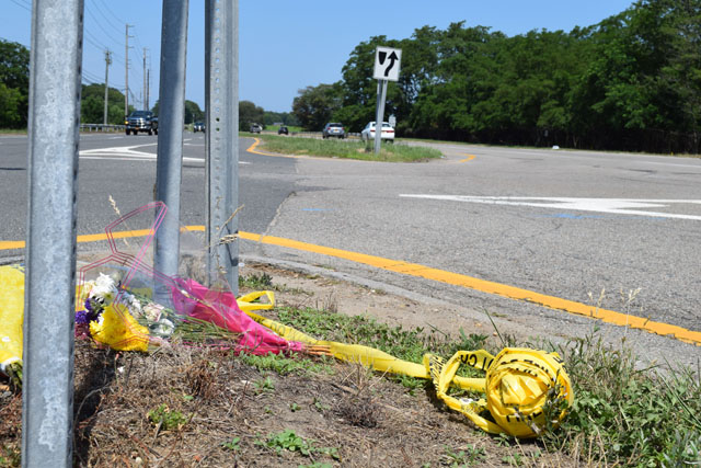 The intersection of Depot Lane and Route 48 in Cutchogue where four women where killed when an alleged drunk driver plowed into the limo they were riding in on Saturday afternoon.
