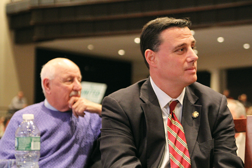 Assemblyman Anthony Palumbo (right) at a Common Core forum last year in Eastport. (Credit: Carrie Miller, file)