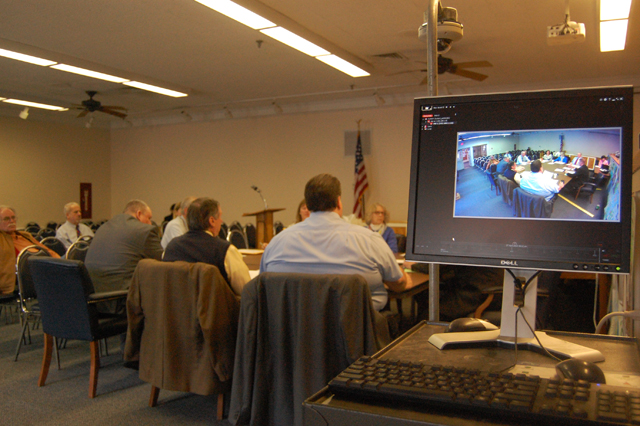 Tuesday's Town Board work session being recorded by test equipment. (Credit: Cyndi Murray)