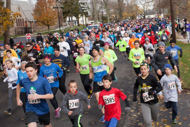 Runners pack the street in Mattituck for the ninth annual Turkey Trot. (Credit: Katharine Schroeder)