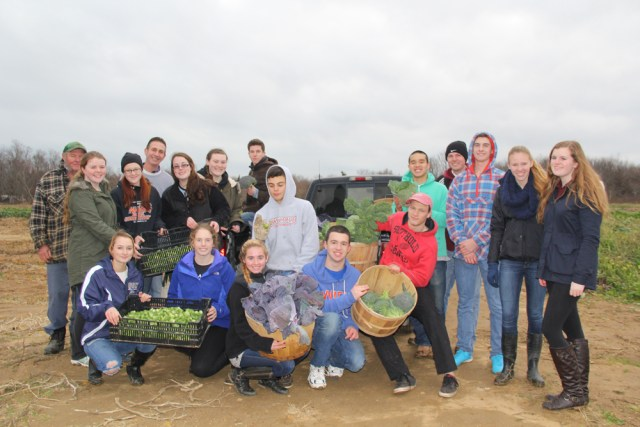 The Southold High School Honor Society at Wesnofske Farm on Tuesday. (Credit: Carrie Miller)