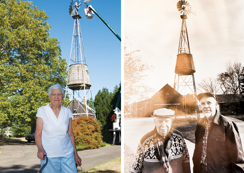 Lorna Tuthill of Southold said her husband, Donald, restored the windmill in 1985. Donald (right) was pictured with his father Harold during the last restoration. (Credit: Katharine Schroeder/File photo)