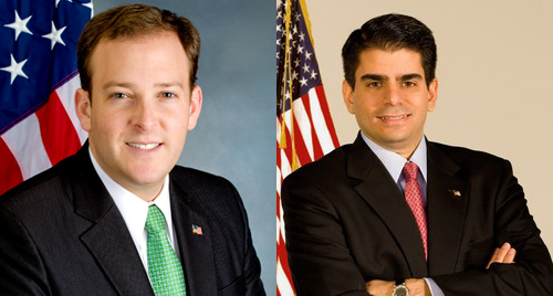 Lee Zeldin, left, and George Demos, right, both hope to appear opposite Congressman Tim Bishop on the ballot in November's election.