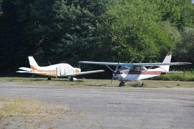 Small planes parked at the New Suffolk Avenue airbase. (Credit: Carrie Miller, file)