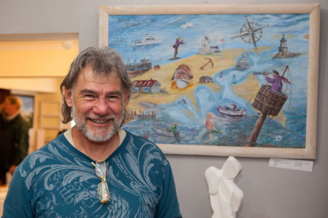 """Guild president Bob Kuhne with his latest work """"Hook, Line, and Sinker."""""""