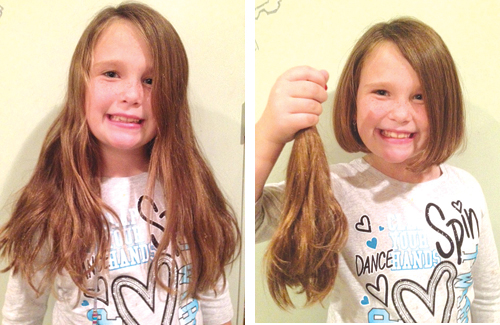 COURTESY PHOTO | Southold first-grader before and after she cut her hair for Locks of Love.