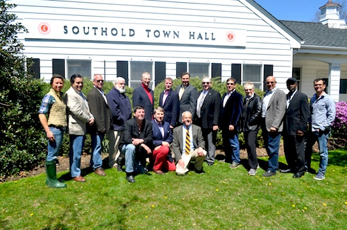 Joan Bischoff, kneeling in the center, at a North Fork Promotion Council event at Town Hall. (Credit: Cyndi Murray)