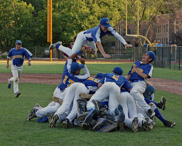 After a wild 10-inning win Saturday, the Mattituck baseball team celebrated in style. Mattituck advances to the state semifinals next weekend. (Credit: Daniel De Mato)