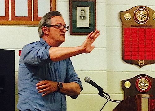 Widows Hole Oyster Company owner Mike Osinski pleads with the board to let his wetland application move forward earlier this year. (Credit: Cyndi Murray, file)
