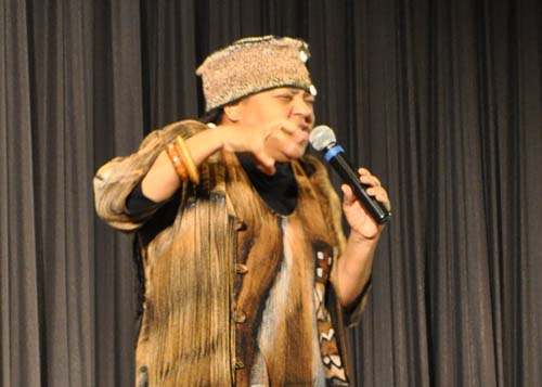 Storyteller and teaching artist Queen Nur in Greenport Friday.   Rachel Young