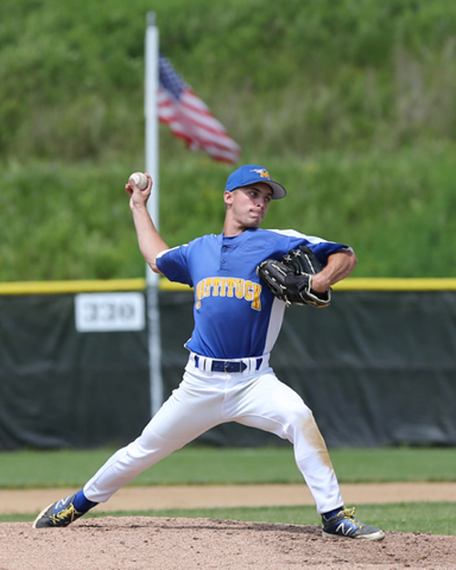 Mattituck's Joe Tardif pitched a four-hitter to lead the Tuckers to a win in the state semifinals Saturday. (Credit: Daniel De Mato)