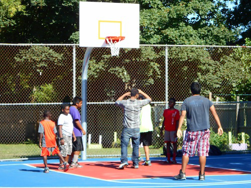 The Third Street basketball court was resurfaced in August. (Cyndi Murray photo)