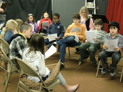 Cast members rehearse a song from 'Cat-Tales: No Bullies Here,' which will be performed Sunday afternoon, April 17, at the Creation Station behind Cutchogue United Methodist Church. In the musical fable written and directed by Mary Agria, bullies are confronted by the Alley Cats.