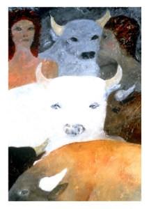 'Cosmic Earth Bull Series LX' by Sheila Isham