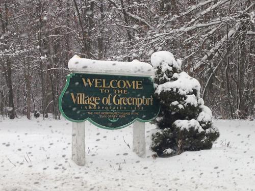 Welcome to beautiful, snowy Greenport. Cyndi Murray photo.