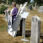 Jane Sciacca gives remarks at Wayland suffrage commemoration