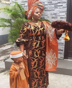 ankara lace buba style with auto gele head wrap, mother and son fashion style