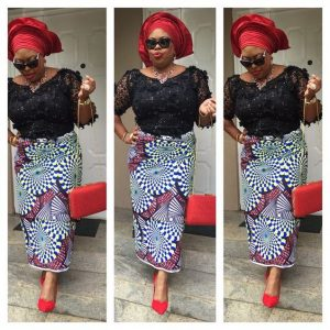 two piece ankara wrapper with lace blouse and auto gele head wrap style