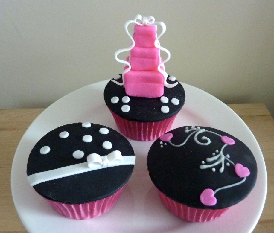 Black white and pink designer cupcakes