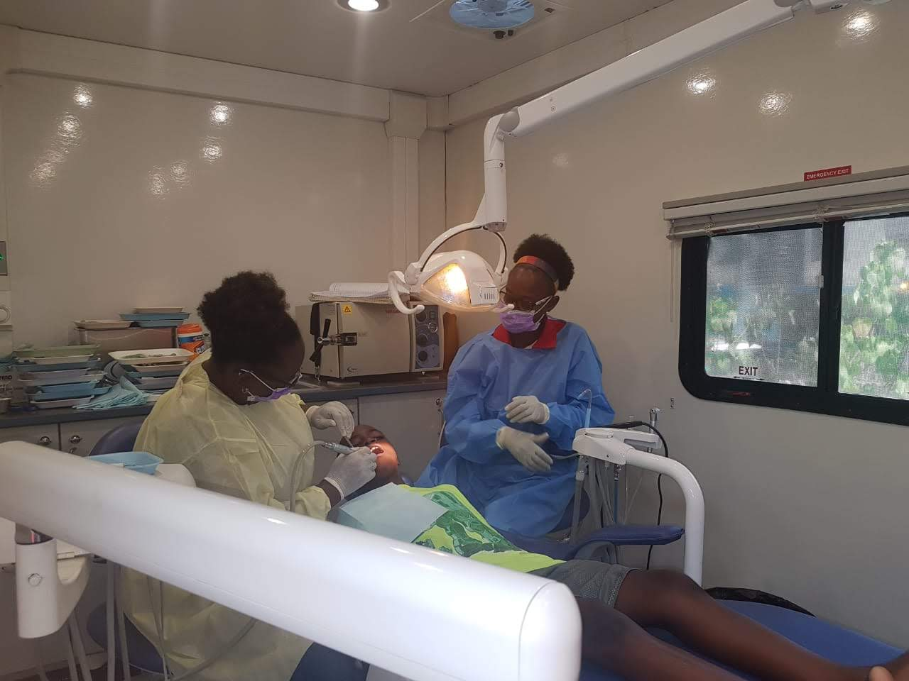 Teeth cleaning being provided by Kirk Distributors in their mobile unit on September 8, 2018 at the Chetolah Mel Nathan Educational Centre Health Fair.