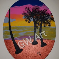 GW Art's 'Island Set' Acryilic on 16*20 Oval Canvas, which was replicated from the original that premiered at the GW Art show on September October 3rd at The Reggae Mill Bar