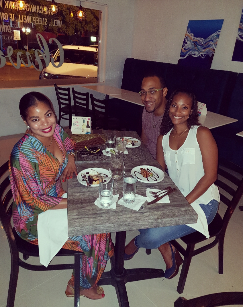(L-R) Friends and Foodies, Jehan Knight, Randy Burgess and wife, Gabrielle a.k.a Suga feeling quite content after a fulfilling RW dinner at the new Chive Restaurant.