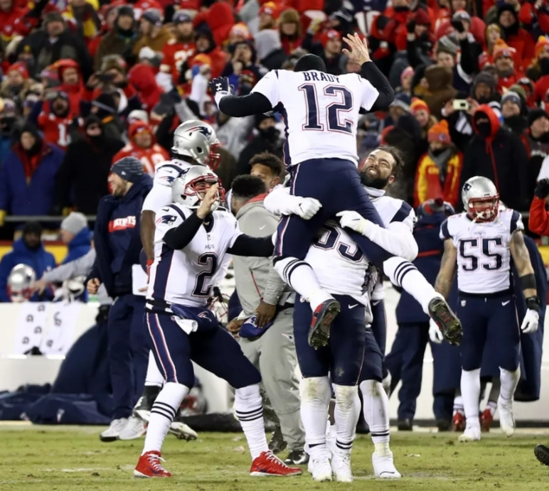 New England Patriots celebrate their win to head to the Super Bowl last night