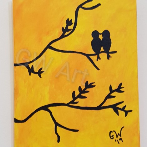 "'KISSING inna Tree' - (8×10)"" Acrylic on Canvas"