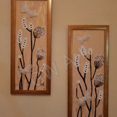 "Framed Acrylic on 2 (8×22)"" Canvases embellished with Butterfly ornaments"