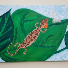 "'OH GECKO' - Acrylic on (100×50)cm / (39.5×~20)"" Canvas - PRICE: $50000JMD"