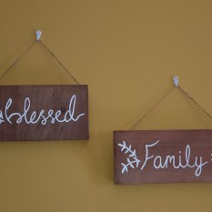 GW Art's Wooden Signs from the new collection, 'Blessed' and 'Family'.