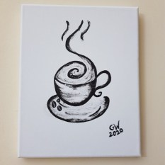 "'COFFEE FIX' - (8×10)"" Acrylic on Canvas - PRICE: $4500JMD"