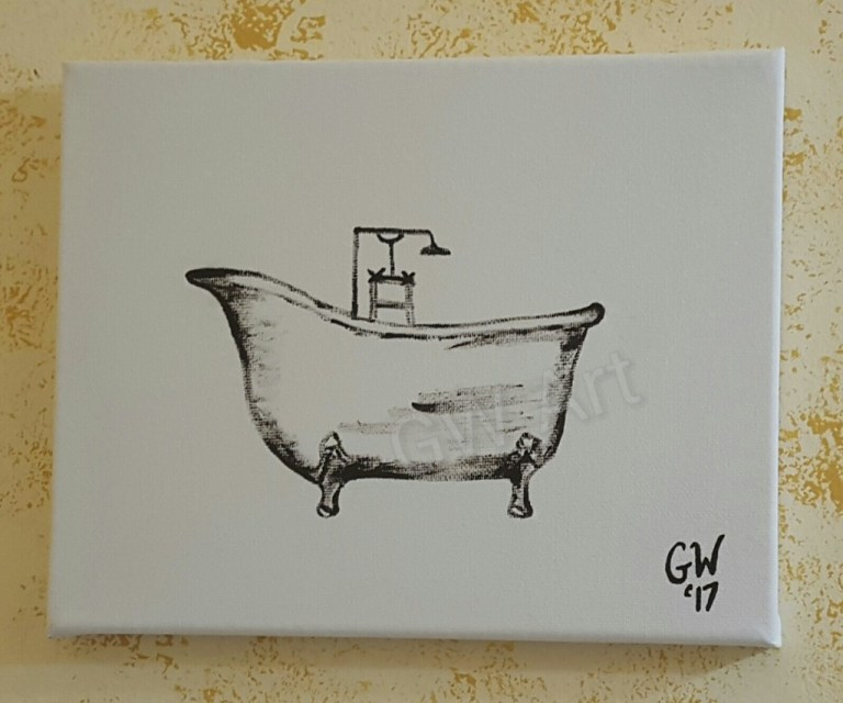 'Vintage Bath Tub' Acrylic on (8×10)'' Canvas