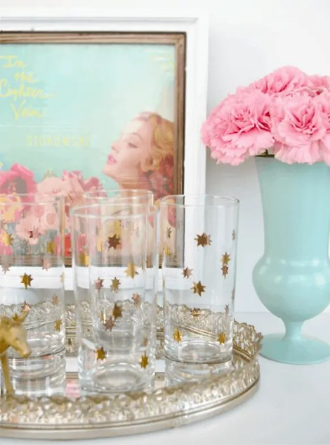 vintage high ball glasses carnations mint vase