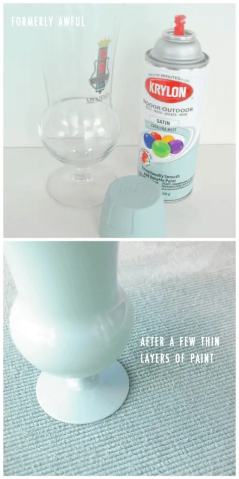 repurpose mismatched glasses with spray paint