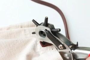 DIY leather handled tote bag