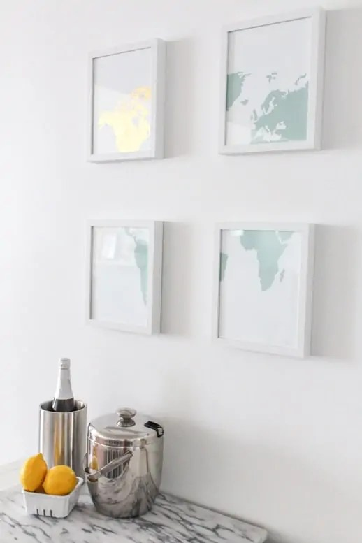 GIVEAWAY + DIY Gold Leaf Map Art - Sugar & Cloth - DIY - Houston Blogger - Ikea