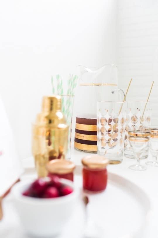 serve mini Christmas cocktails
