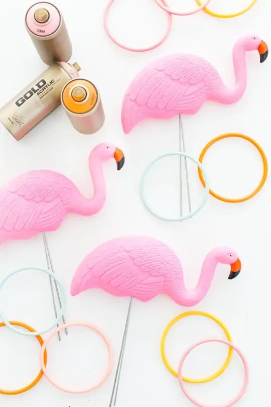 DIY flamingo ring toss yard game by Ashley Rose of Sugar & Cloth, an award winning DIY and entertaining blog.