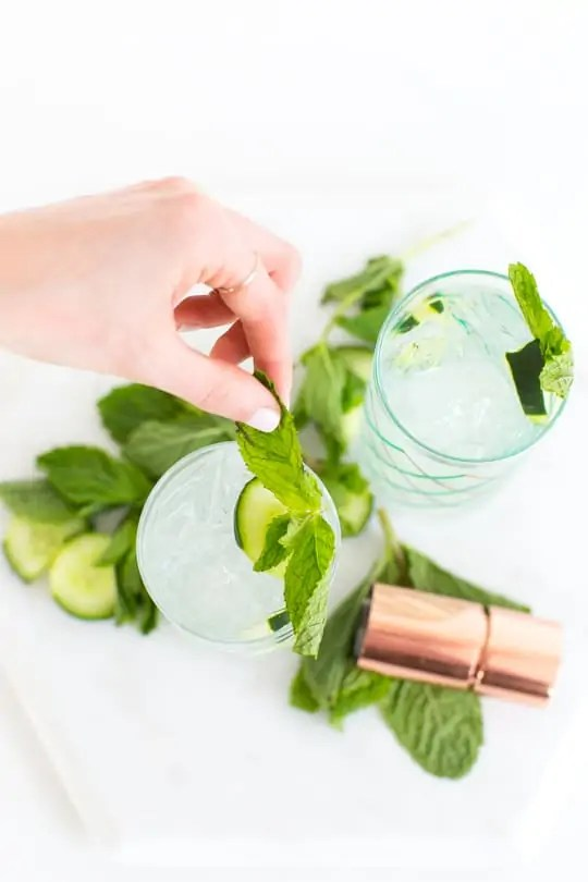 cucumber mint cooler recipe - sugar & cloth