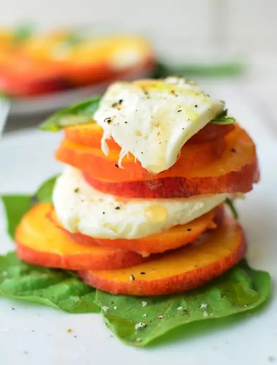 Peach Caprese Salad Recipe - Sugar & Cloth