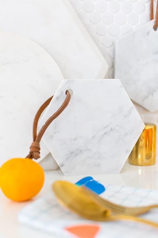 DIY hanging marble serving board - sugar & cloth