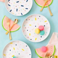 The perfect rainy afternoon craft project, DIY confett pattern placemats and chargers - sugar and cloth