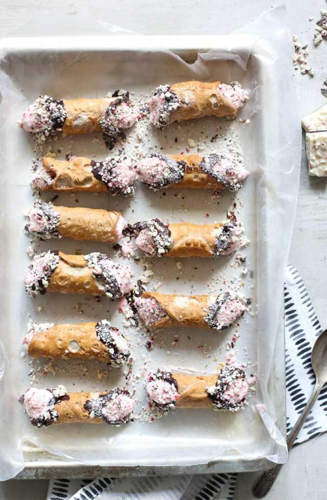 Peppermint bark cannoli recipe by Ashley Rose of the award winning DIY and lifestyle blog, Sugar & Cloth.