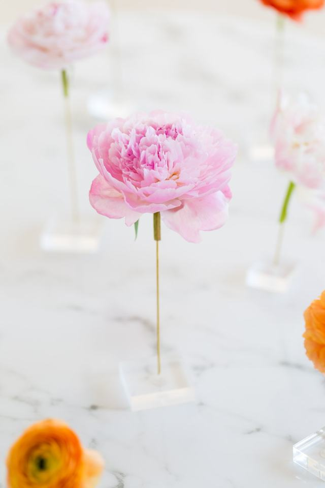 DIY floating flower table display by top Houston lifestyle blogger Ashley Rose of Sugar and Cloth