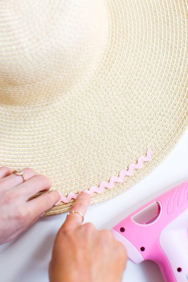 DIY ric rac summer hat by top Houston Texas lifestyle blogger, Ashley Rose of Sugar & Cloth