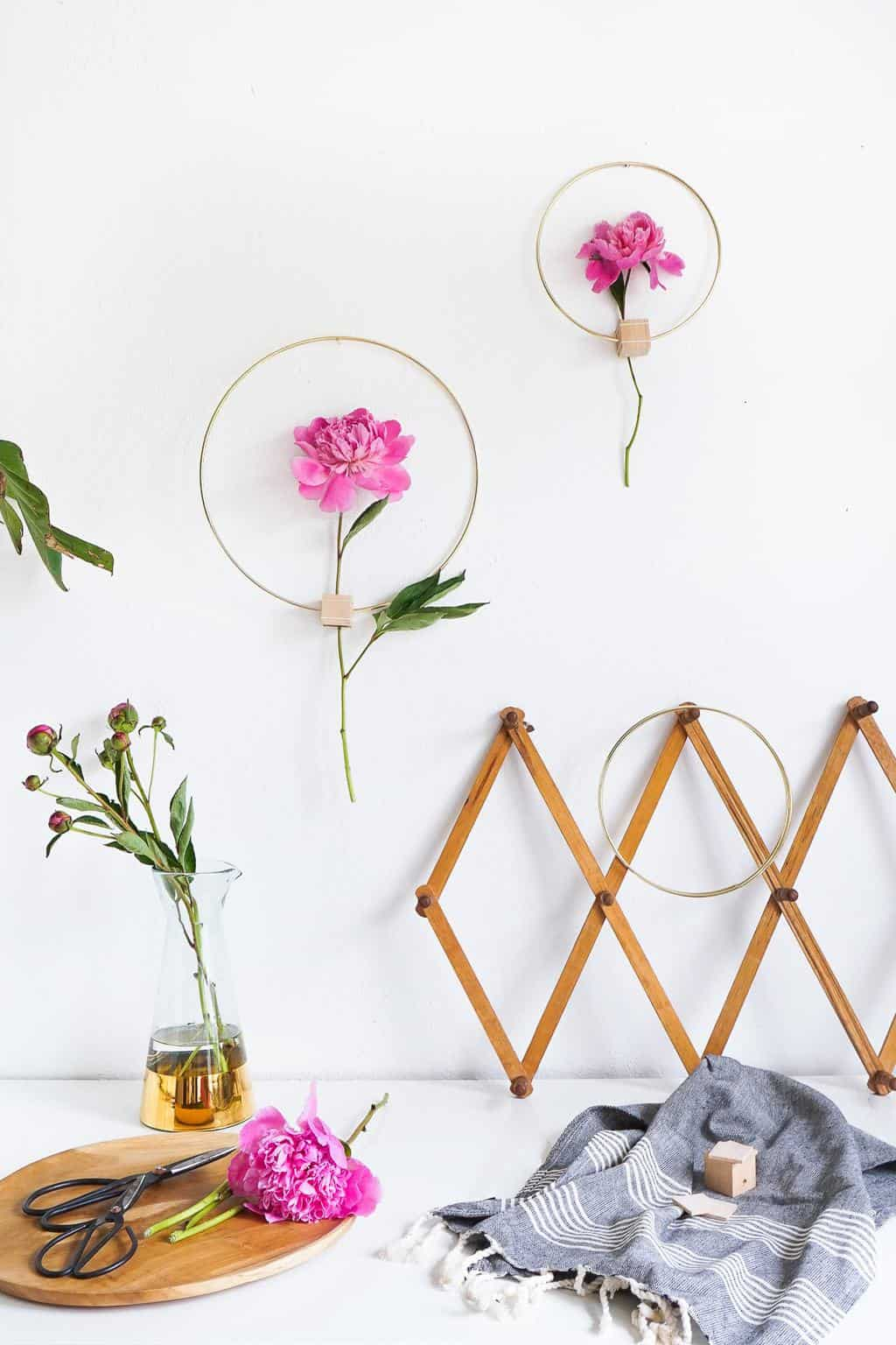 Sugar & Cloth - DIY Minimalist Flower Wall Hang Decor on Hanging Wall Sconces For Flowers id=46007