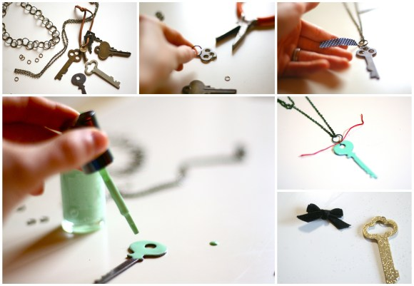 how to make a vintage key necklace