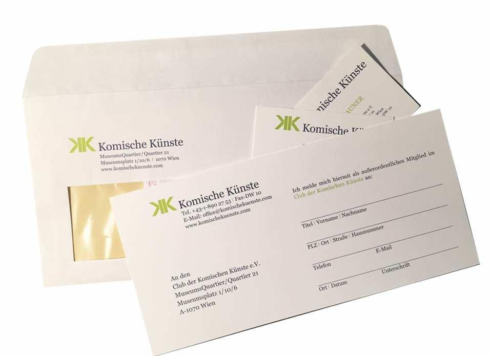 CD Komische Künste, Logo, Briefpapier, Visitenkarten